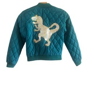 Cat & Jack Dino quilted bomber jacket in size 7/8